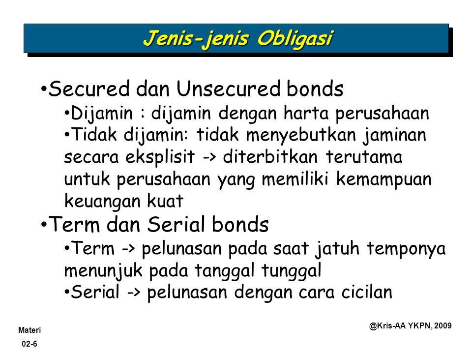 Secured dan Unsecured bonds