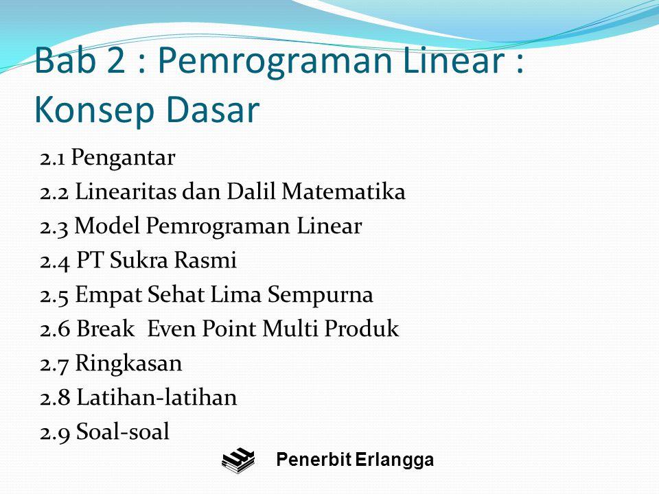 Bab 2 : Pemrograman Linear : Konsep Dasar