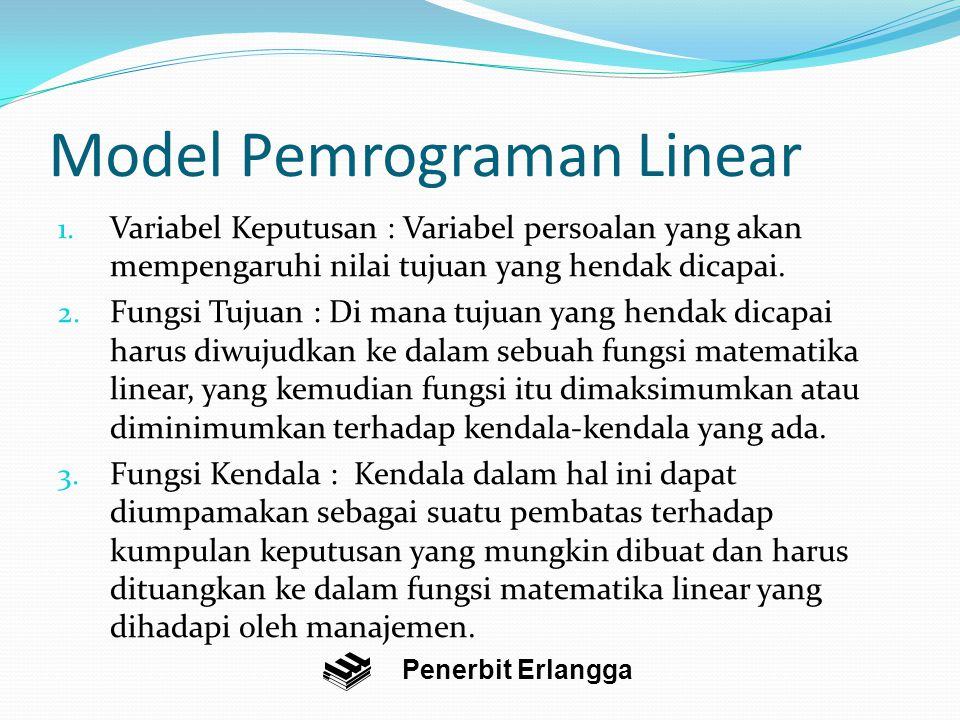 Model Pemrograman Linear