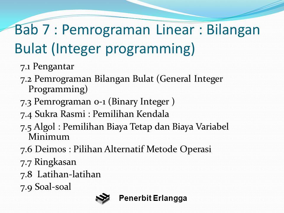 Bab 7 : Pemrograman Linear : Bilangan Bulat (Integer programming)
