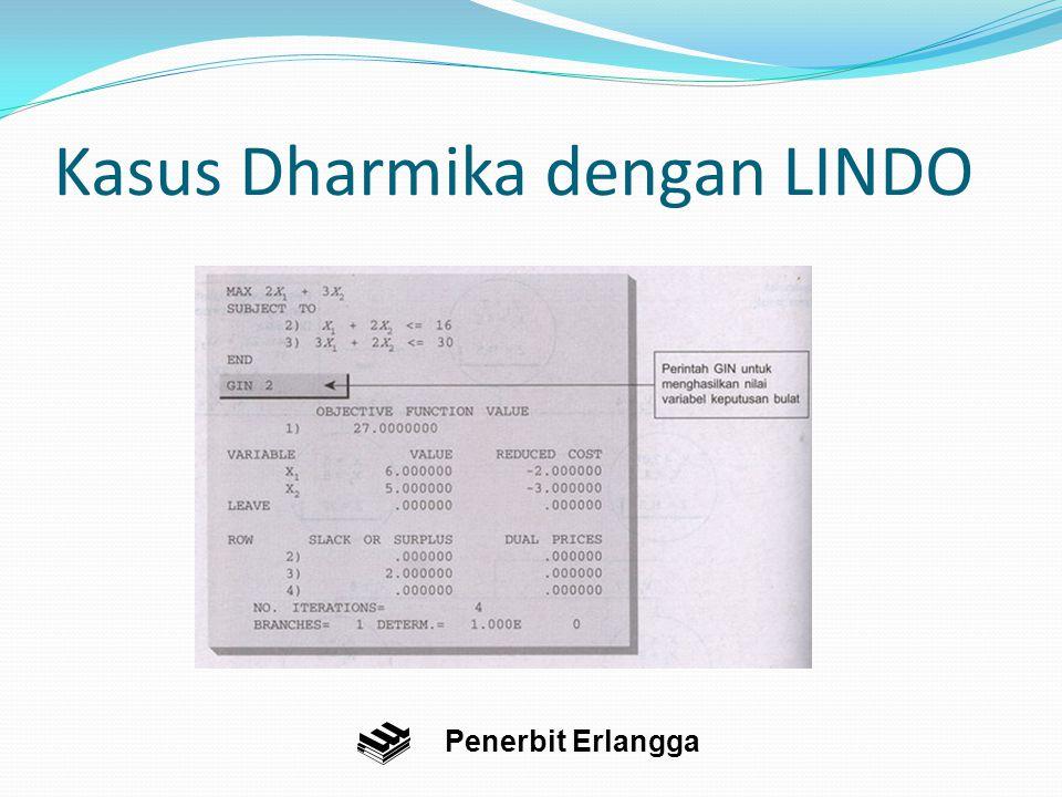 Kasus Dharmika dengan LINDO