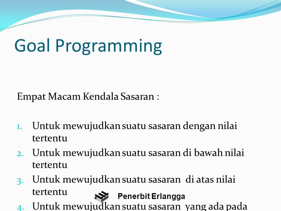 Goal Programming Empat Macam Kendala Sasaran :