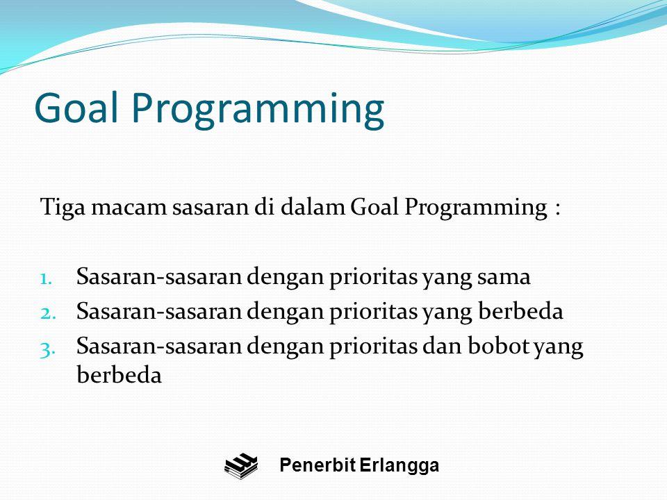 Goal Programming Tiga macam sasaran di dalam Goal Programming :