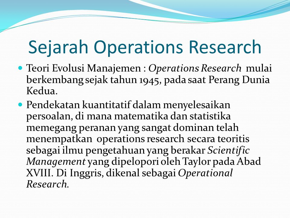 Sejarah Operations Research
