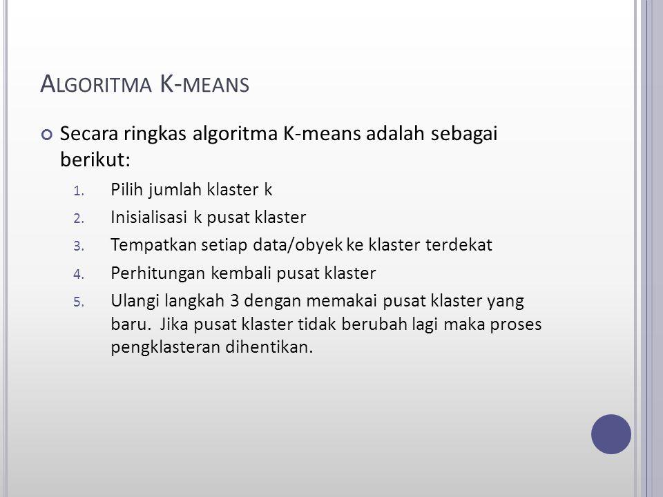 Algoritma K-means Secara ringkas algoritma K-means adalah sebagai berikut: Pilih jumlah klaster k.