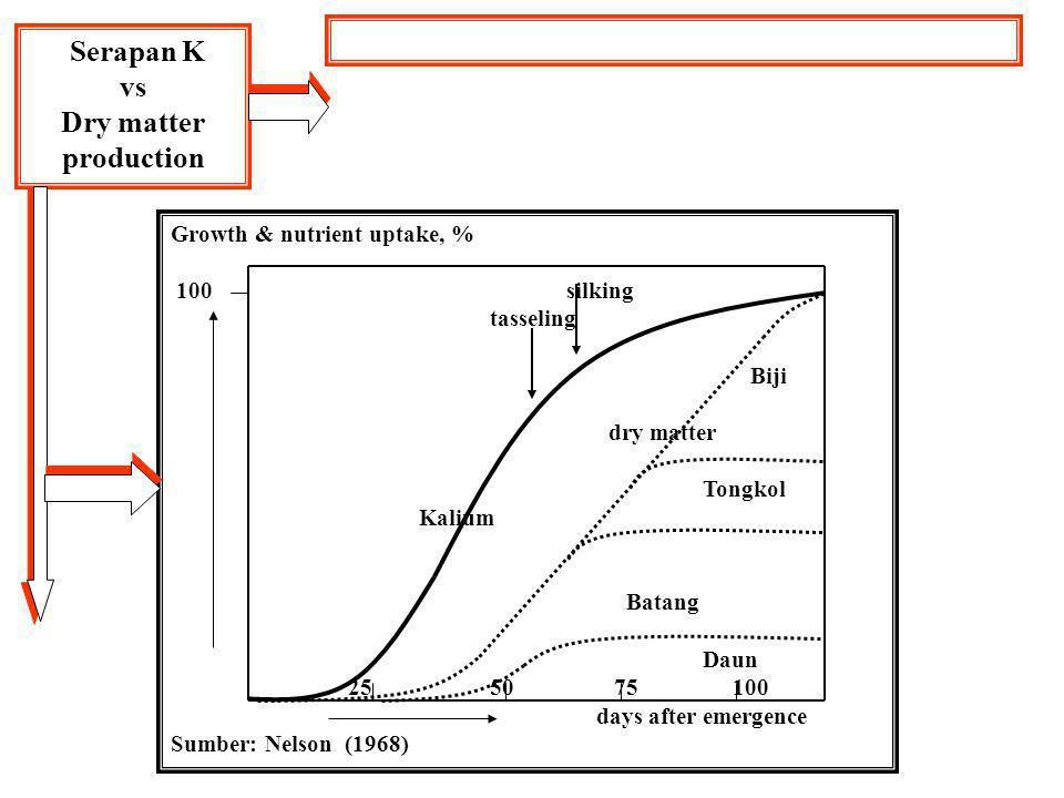 Serapan K vs Dry matter production