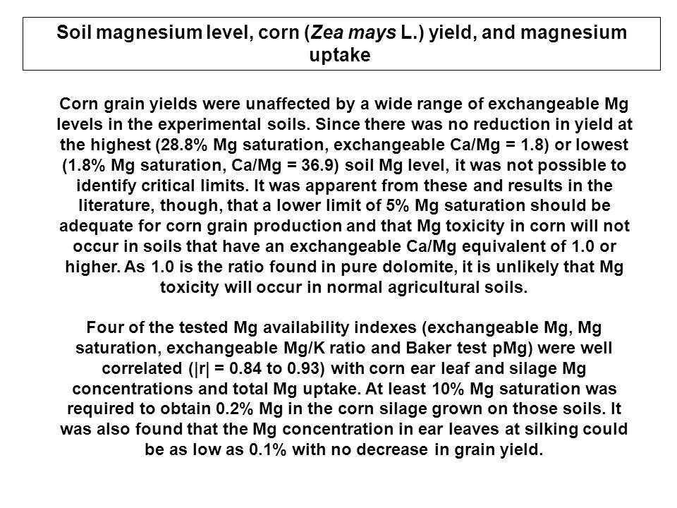 Soil magnesium level, corn (Zea mays L.) yield, and magnesium uptake