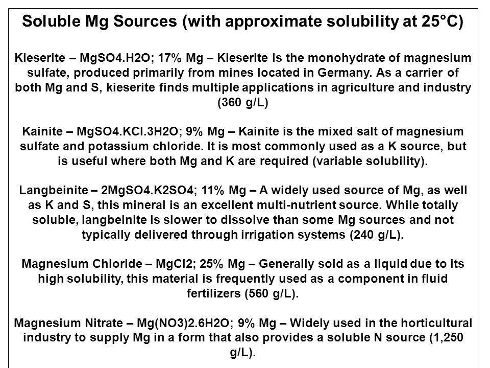 Soluble Mg Sources (with approximate solubility at 25°C)
