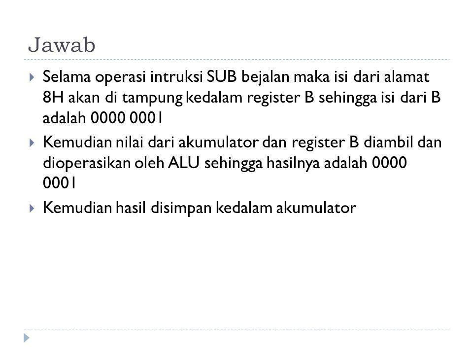 Jawab Selama operasi intruksi SUB bejalan maka isi dari alamat 8H akan di tampung kedalam register B sehingga isi dari B adalah 0000 0001.