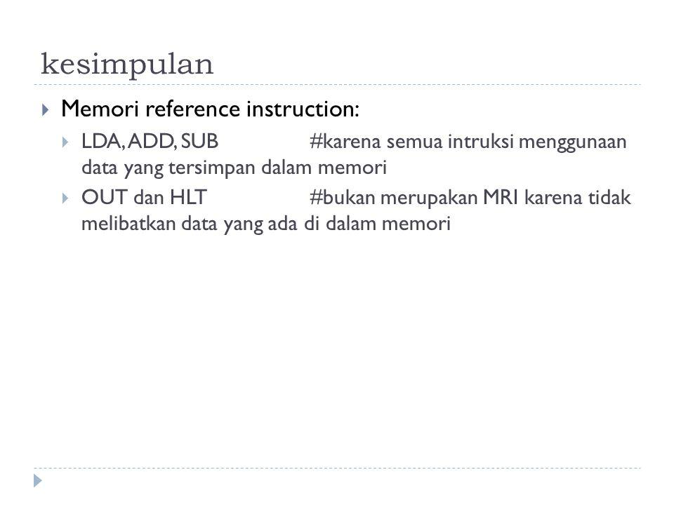 kesimpulan Memori reference instruction: