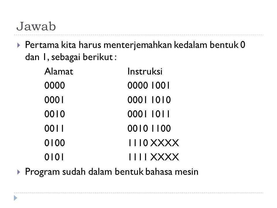 Jawab Pertama kita harus menterjemahkan kedalam bentuk 0 dan 1, sebagai berikut : Alamat Instruksi.