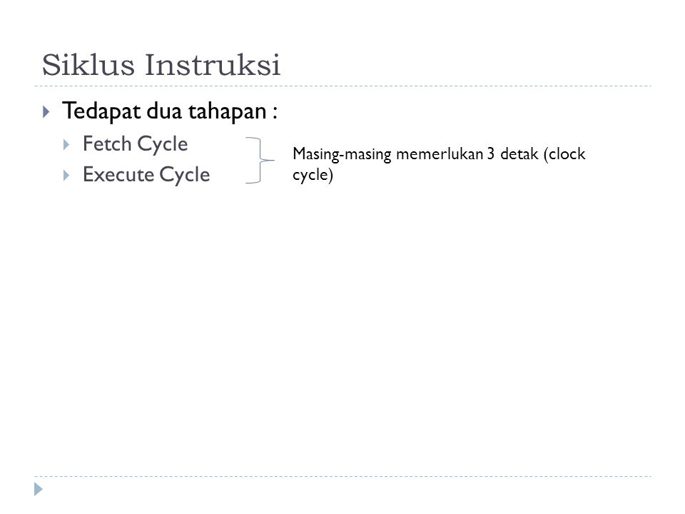 Siklus Instruksi Tedapat dua tahapan : Fetch Cycle Execute Cycle