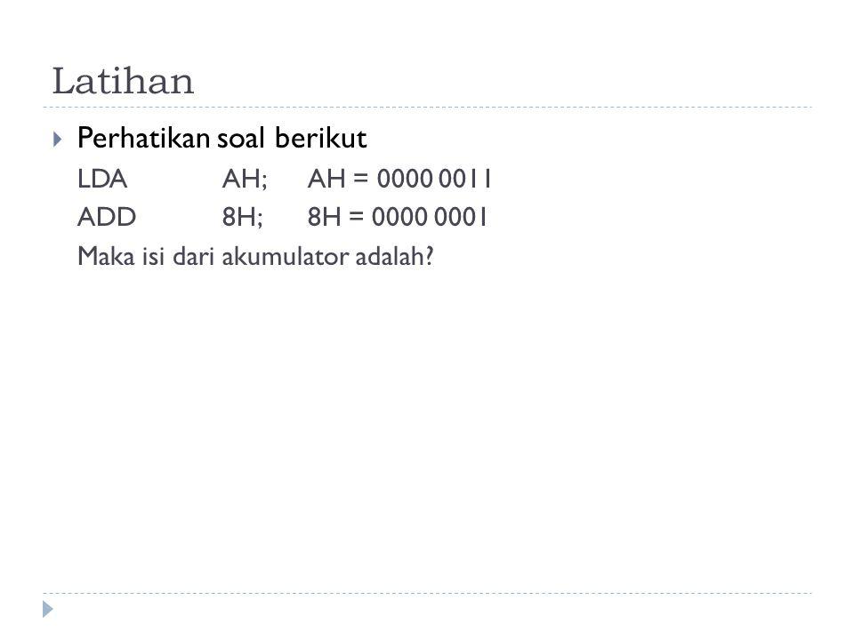 Latihan Perhatikan soal berikut LDA AH; AH = 0000 0011