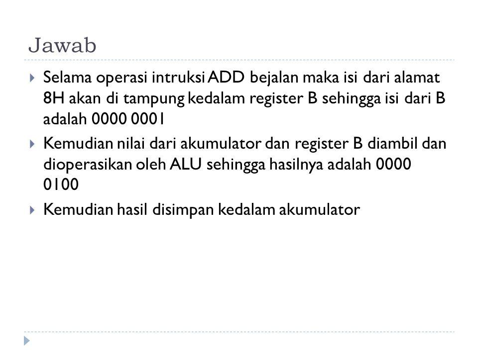 Jawab Selama operasi intruksi ADD bejalan maka isi dari alamat 8H akan di tampung kedalam register B sehingga isi dari B adalah 0000 0001.