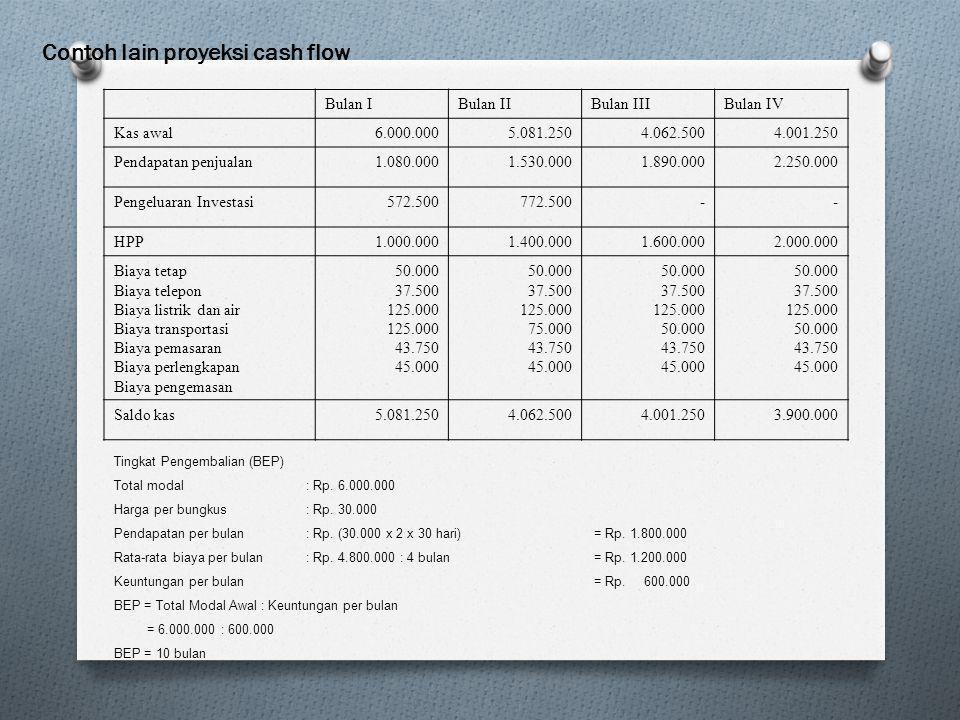 Contoh lain proyeksi cash flow