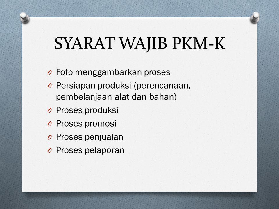 SYARAT WAJIB PKM-K Foto menggambarkan proses