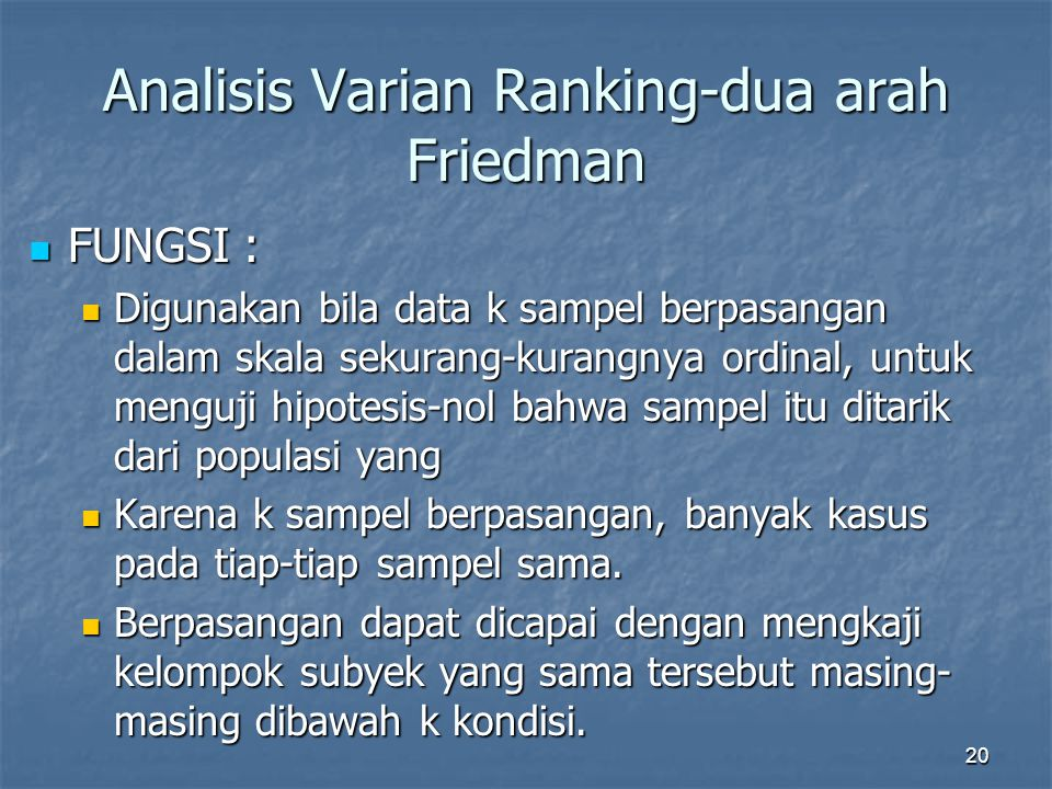 Analisis Varian Ranking-dua arah Friedman