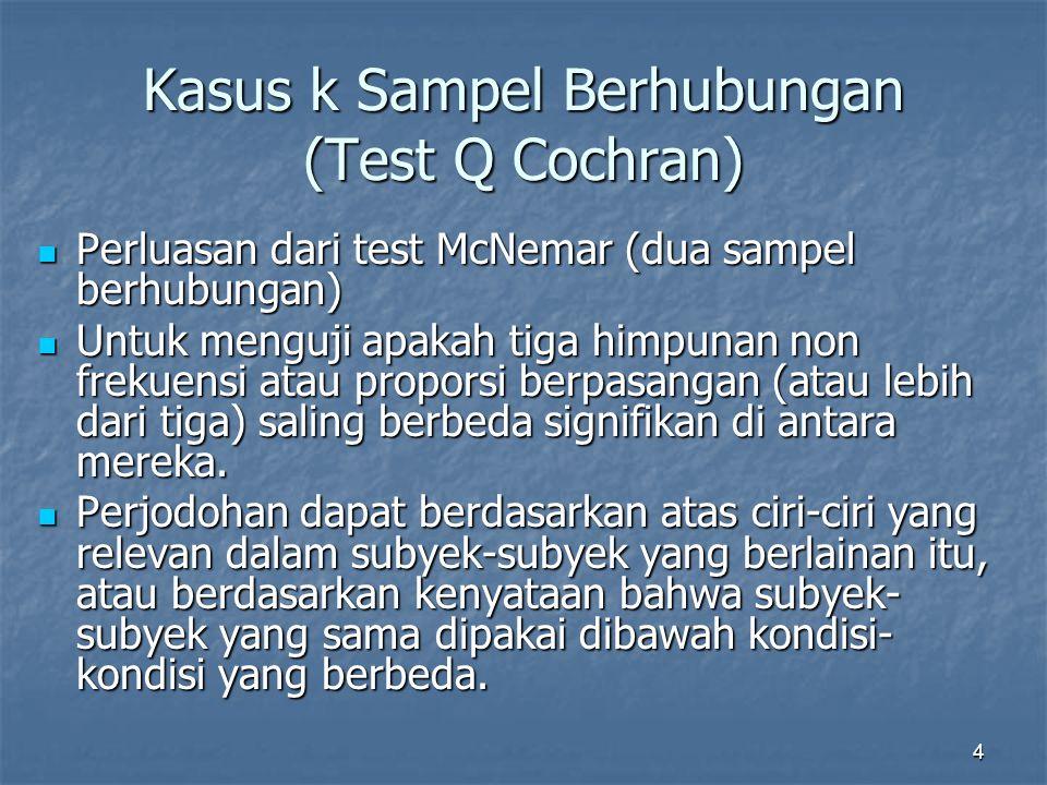 Kasus k Sampel Berhubungan (Test Q Cochran)