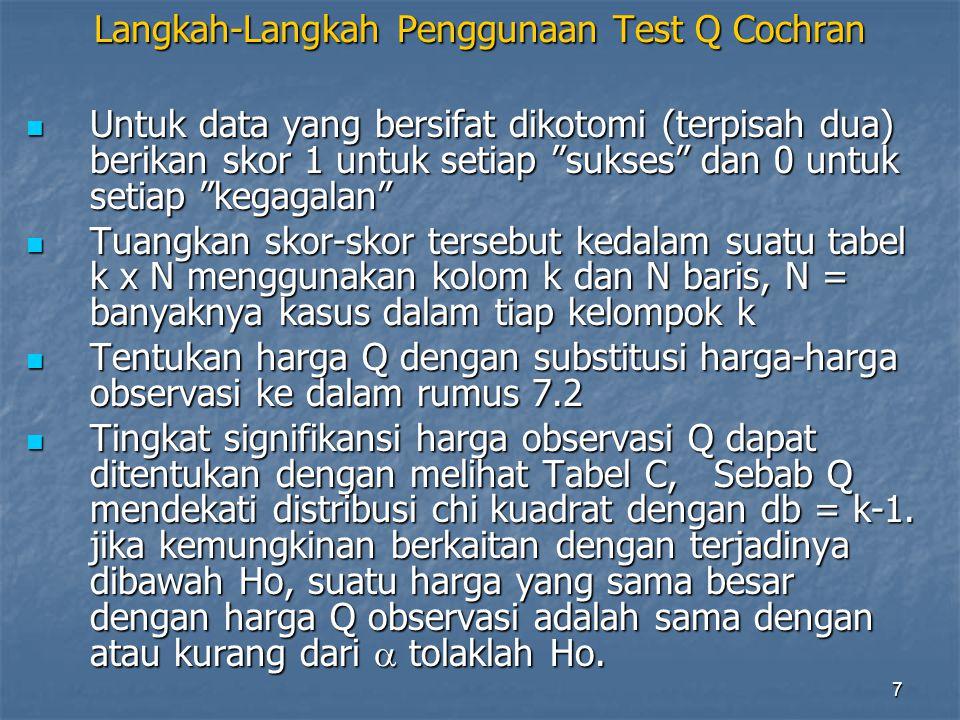 Langkah-Langkah Penggunaan Test Q Cochran