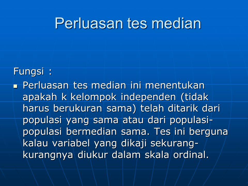 Perluasan tes median Fungsi :
