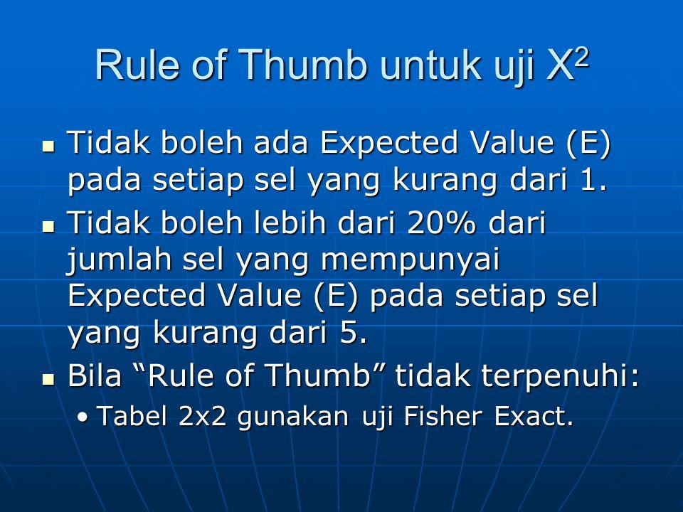 Rule of Thumb untuk uji X2