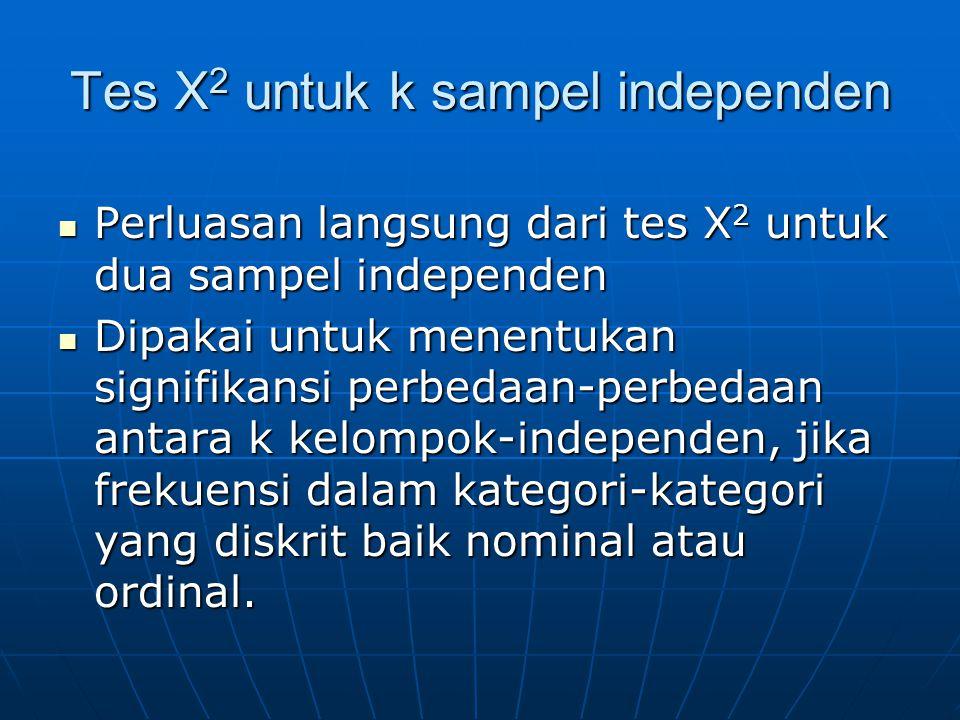 Tes X2 untuk k sampel independen