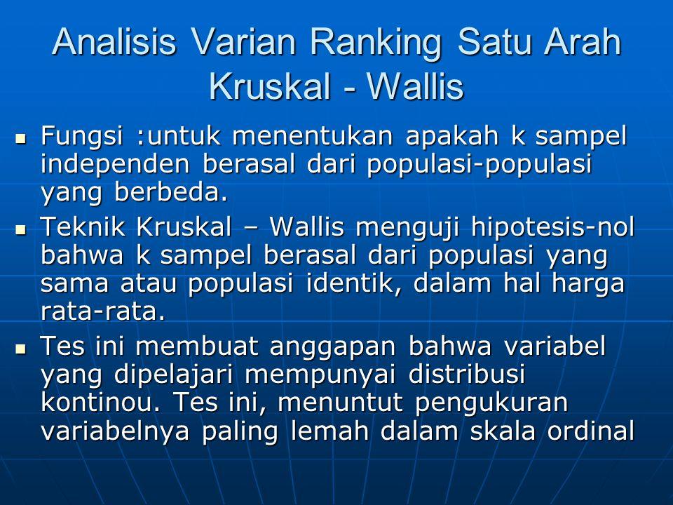 Analisis Varian Ranking Satu Arah Kruskal - Wallis