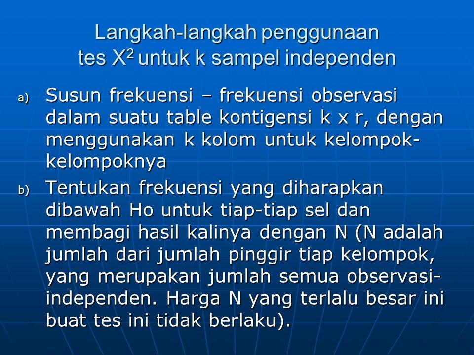 Langkah-langkah penggunaan tes X2 untuk k sampel independen
