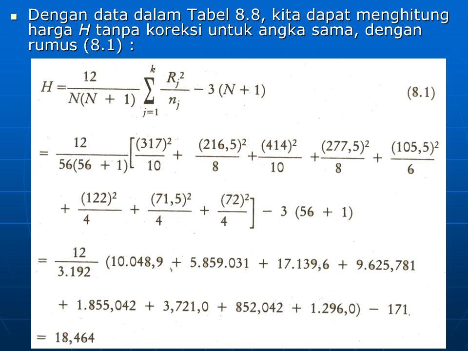 Dengan data dalam Tabel 8