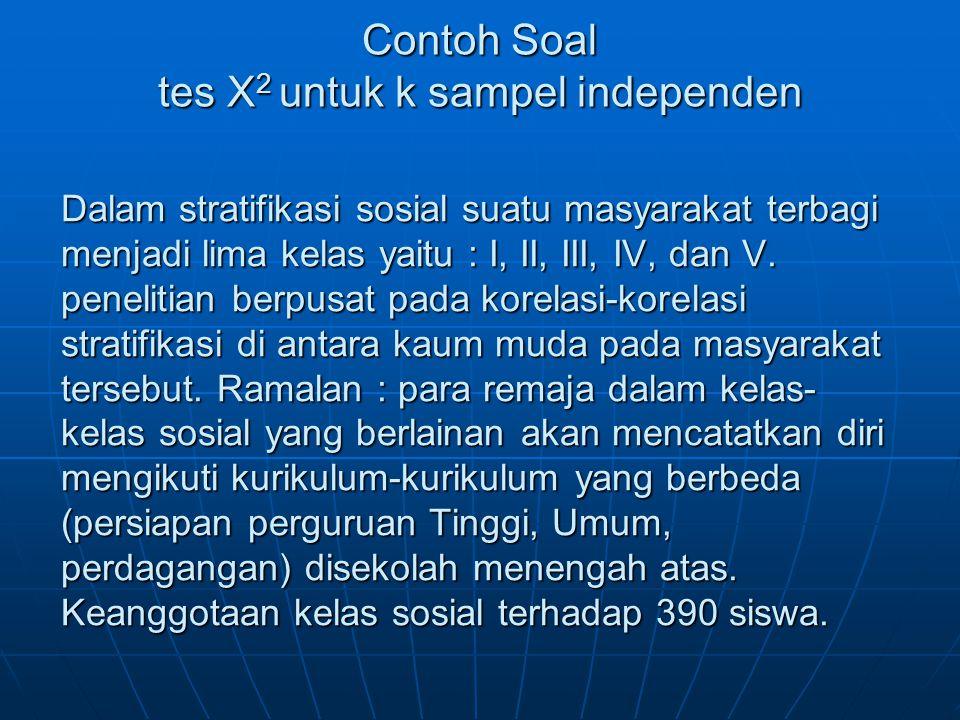 Contoh Soal tes X2 untuk k sampel independen