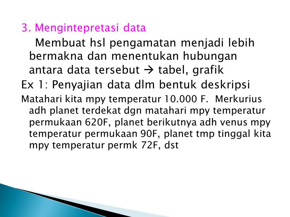 Ex 1: Penyajian data dlm bentuk deskripsi