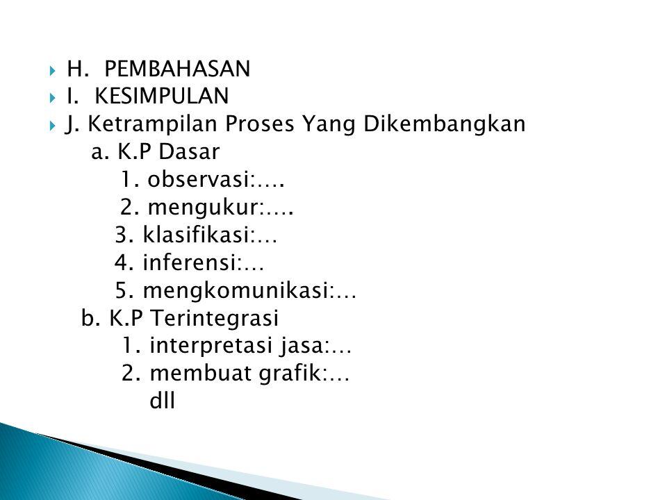 H. PEMBAHASAN I. KESIMPULAN. J. Ketrampilan Proses Yang Dikembangkan. a. K.P Dasar. 1. observasi:….