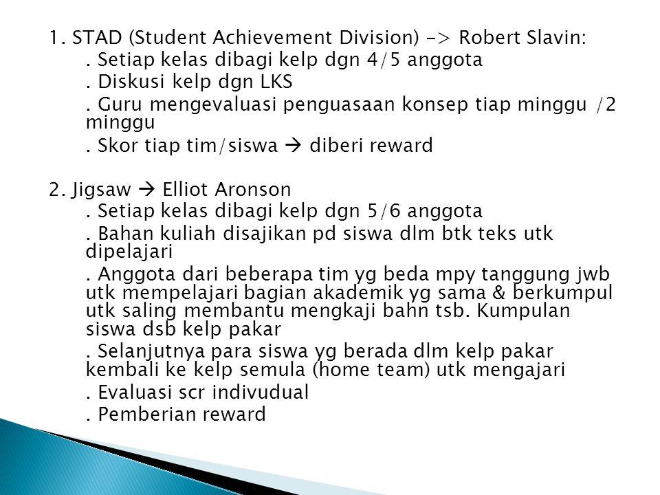 1. STAD (Student Achievement Division) -> Robert Slavin: