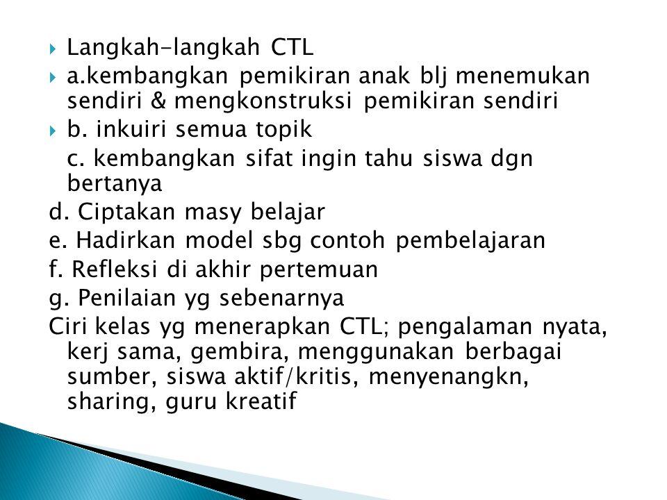 Langkah-langkah CTL a.kembangkan pemikiran anak blj menemukan sendiri & mengkonstruksi pemikiran sendiri.