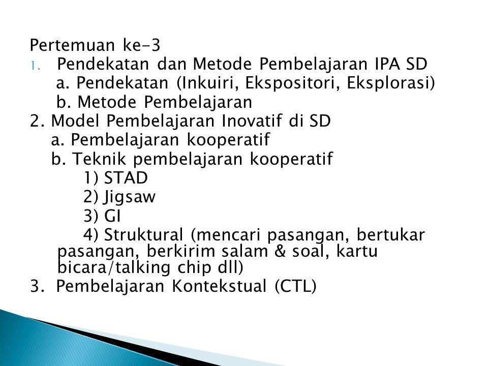 Pertemuan ke-3 Pendekatan dan Metode Pembelajaran IPA SD. a. Pendekatan (Inkuiri, Ekspositori, Eksplorasi)