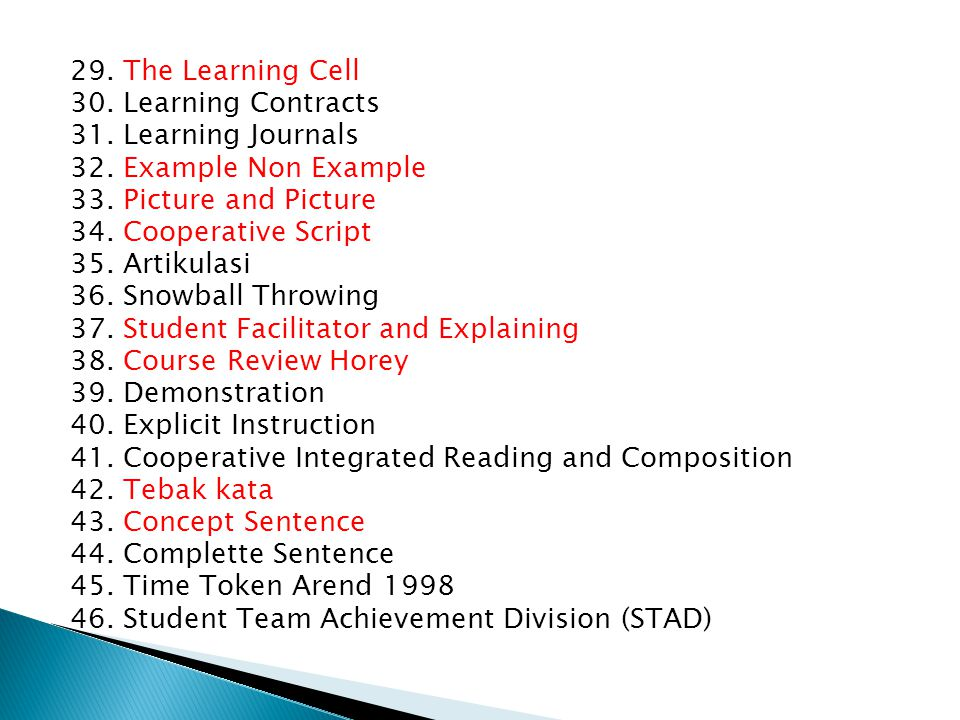 29. The Learning Cell 30. Learning Contracts 31. Learning Journals 32