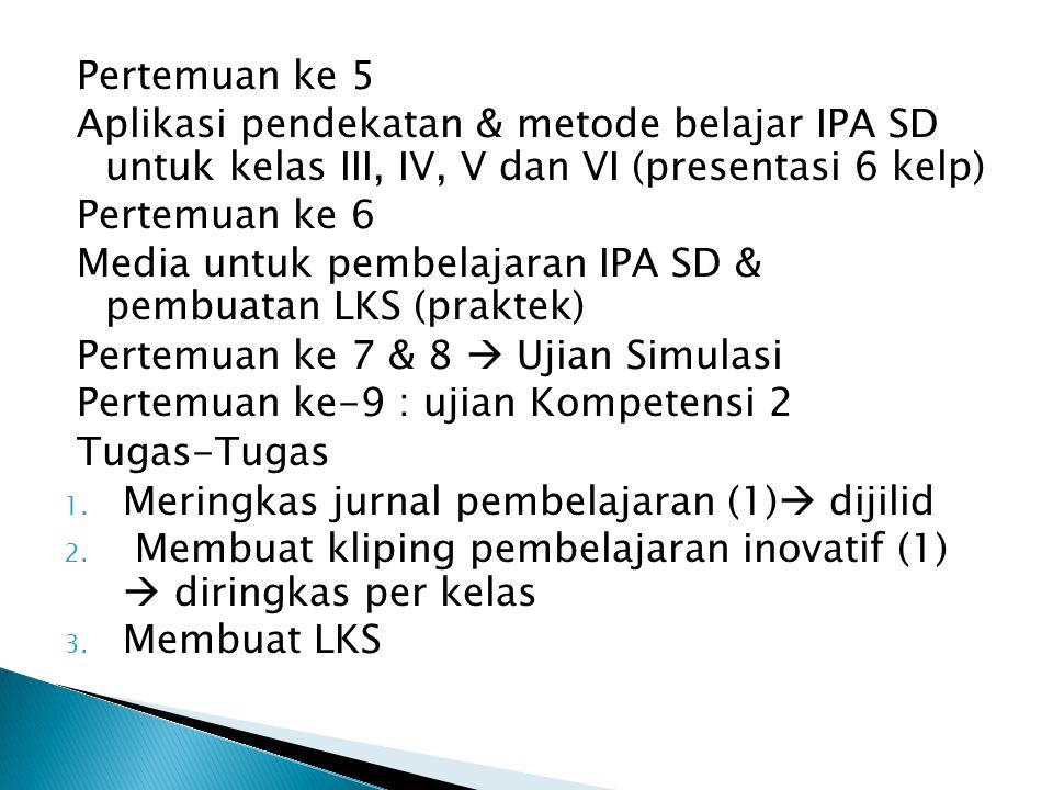 Pertemuan ke 5 Aplikasi pendekatan & metode belajar IPA SD untuk kelas III, IV, V dan VI (presentasi 6 kelp)