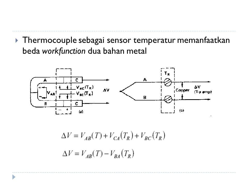 Thermocouple sebagai sensor temperatur memanfaatkan beda workfunction dua bahan metal