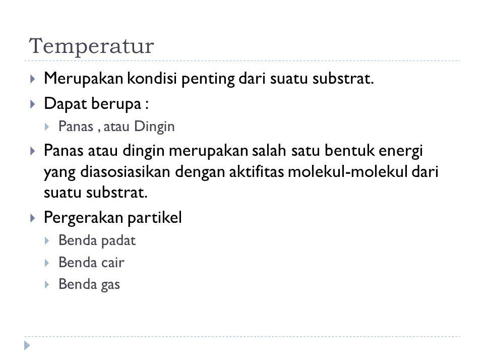 Temperatur Merupakan kondisi penting dari suatu substrat.