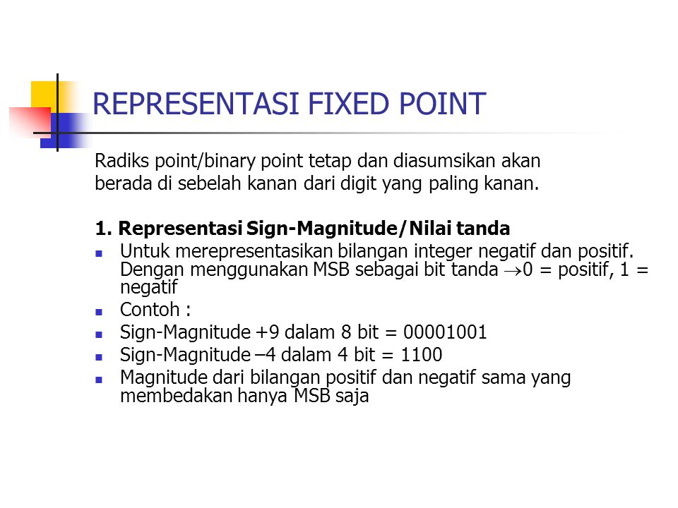 REPRESENTASI FIXED POINT