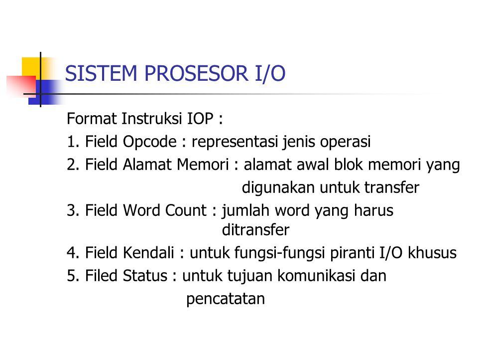 SISTEM PROSESOR I/O Format Instruksi IOP :