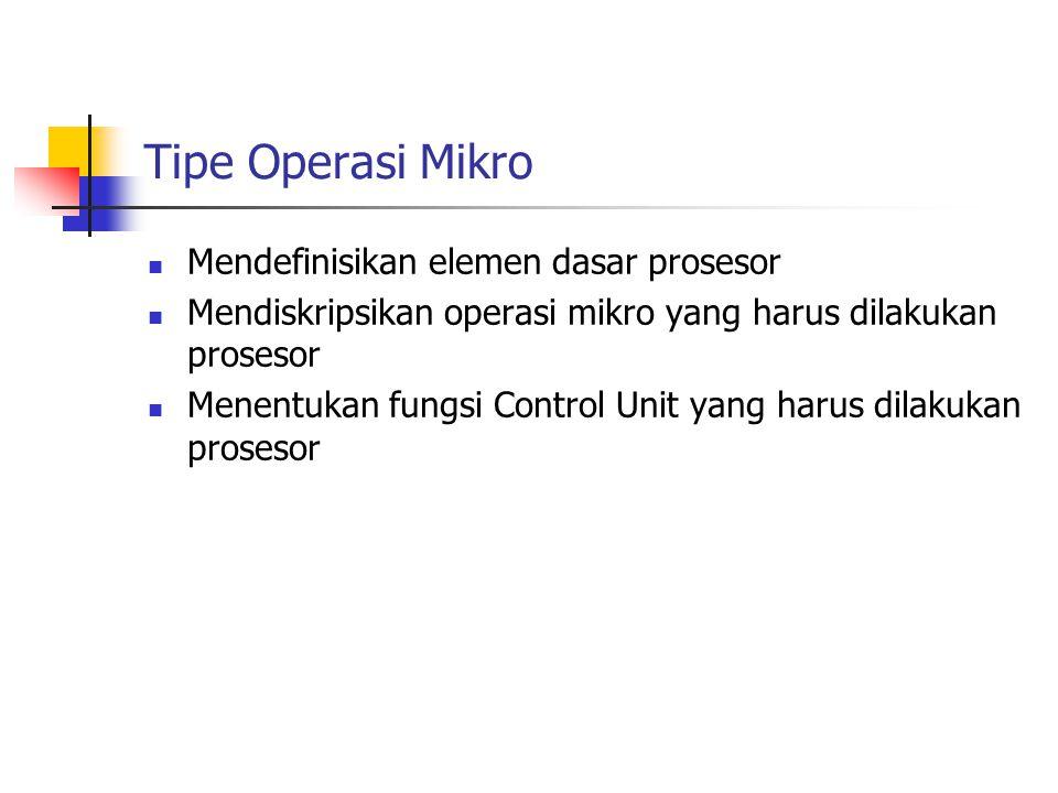 Tipe Operasi Mikro Mendefinisikan elemen dasar prosesor