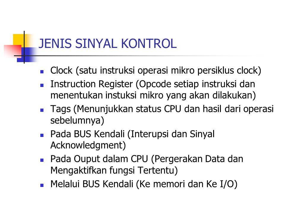 JENIS SINYAL KONTROL Clock (satu instruksi operasi mikro persiklus clock)
