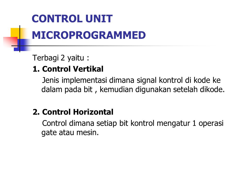 CONTROL UNIT MICROPROGRAMMED