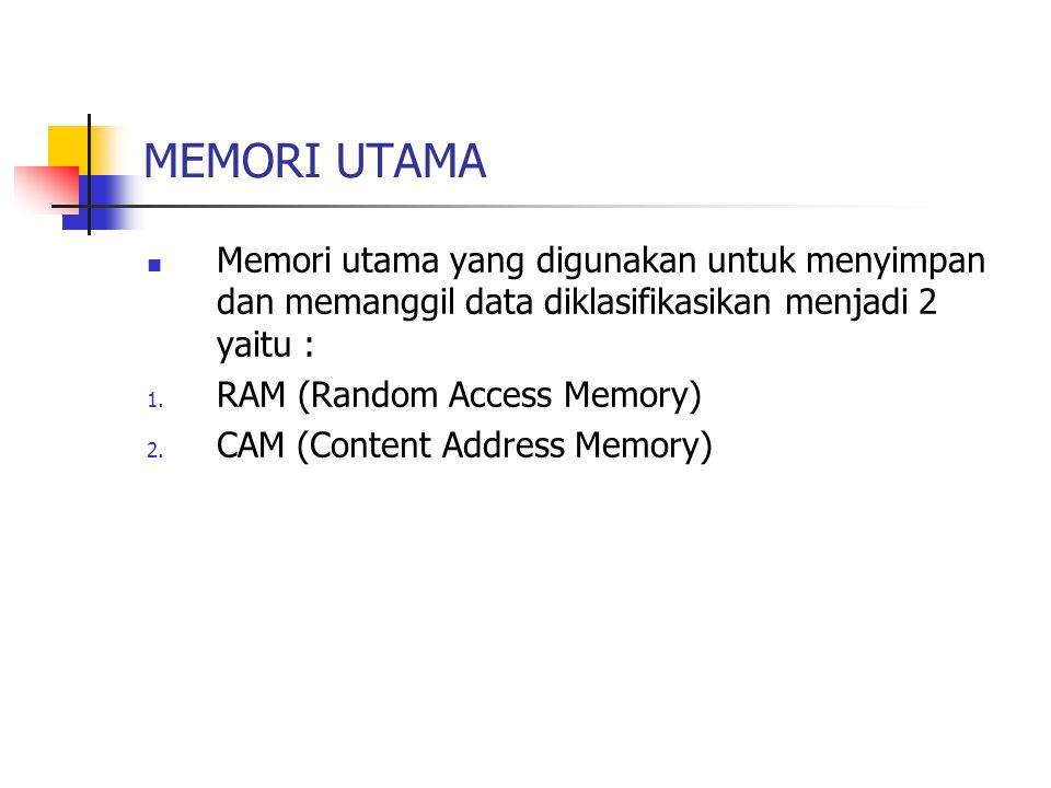 MEMORI UTAMA Memori utama yang digunakan untuk menyimpan dan memanggil data diklasifikasikan menjadi 2 yaitu :