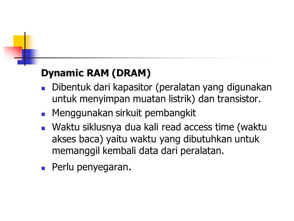 Dynamic RAM (DRAM) Dibentuk dari kapasitor (peralatan yang digunakan untuk menyimpan muatan listrik) dan transistor.
