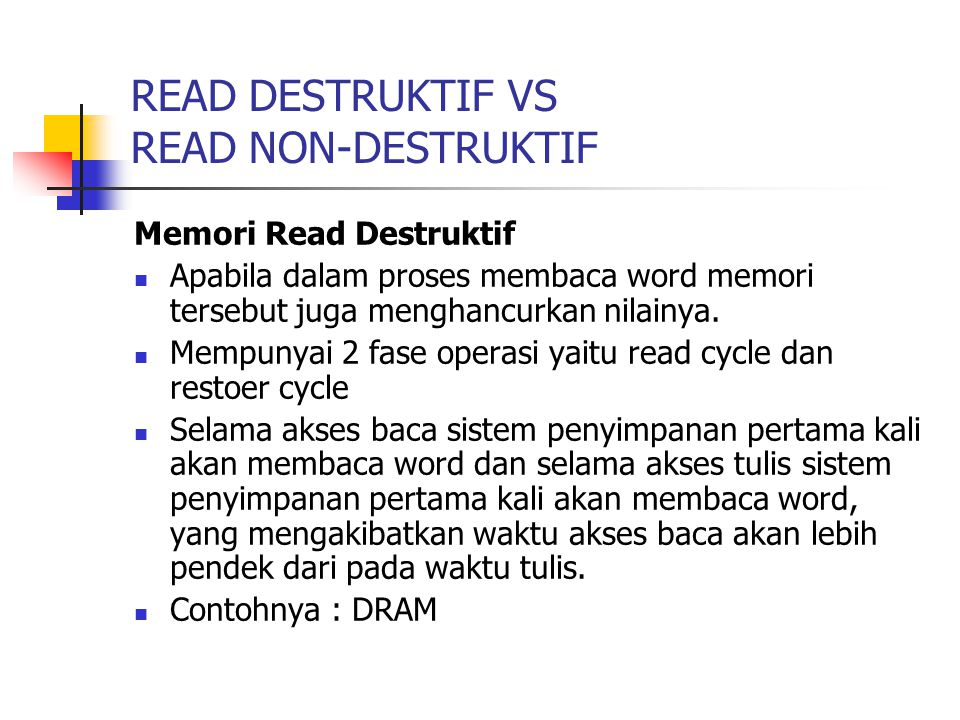 READ DESTRUKTIF VS READ NON-DESTRUKTIF