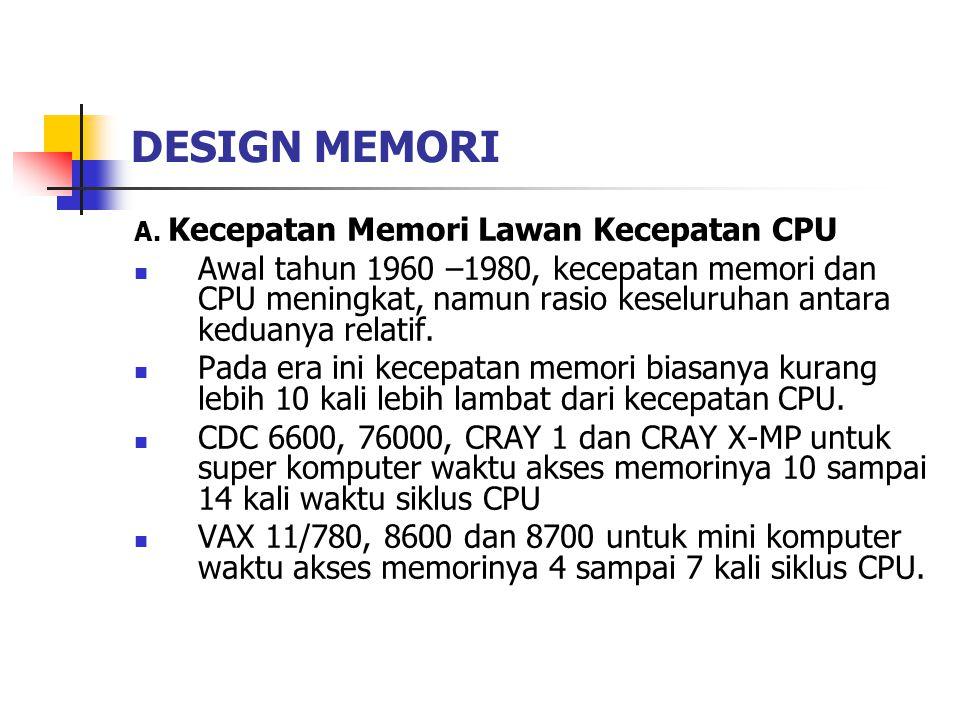 DESIGN MEMORI A. Kecepatan Memori Lawan Kecepatan CPU.