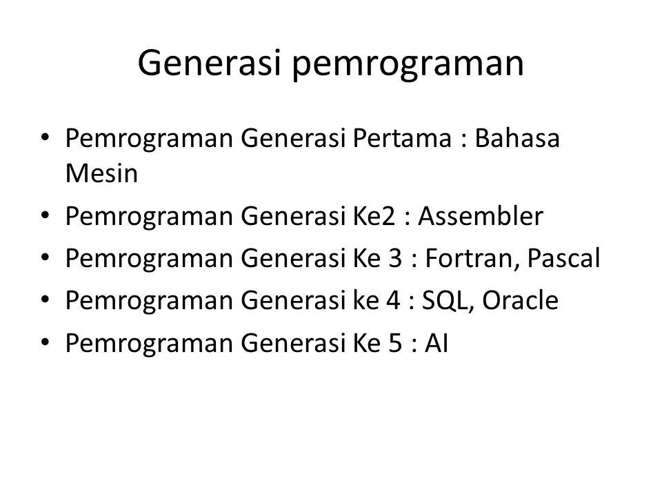 Generasi pemrograman Pemrograman Generasi Pertama : Bahasa Mesin