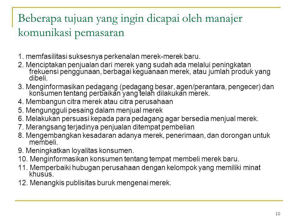 Beberapa tujuan yang ingin dicapai oleh manajer komunikasi pemasaran